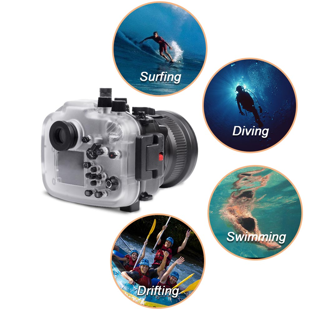 Sony A7 II NG Series 40M/130FT Underwater camera housing with pistol grip (Standard port) Black