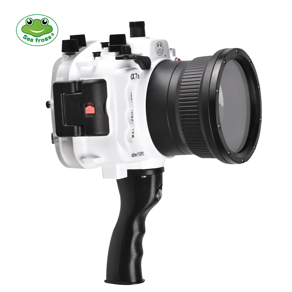 Sony A7 II NG Series 40M/130FT Underwater camera housing with pistol grip (Standard port)  White