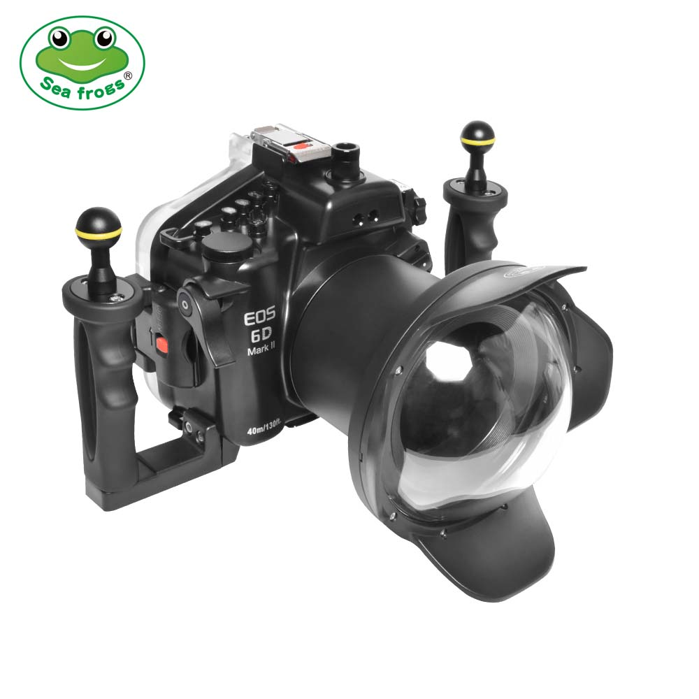 Seafrogs 40m/130ft Underwater Camera Housing With Dome Port  For Canon EOS 6D Mark II